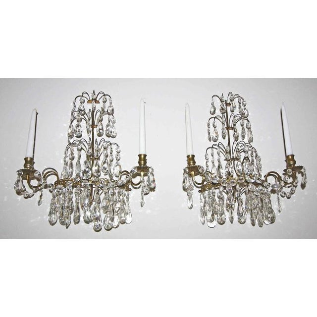 1920s Swedish Gustavian Style Crystal and Brass Candle Wall Sconces - a Pair For Sale - Image 4 of 11