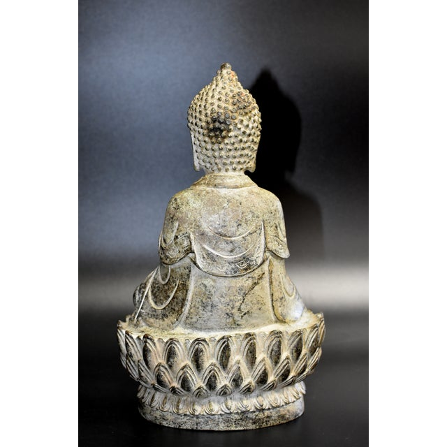 19th Century Antique Bronze Buddha Statue For Sale - Image 11 of 13