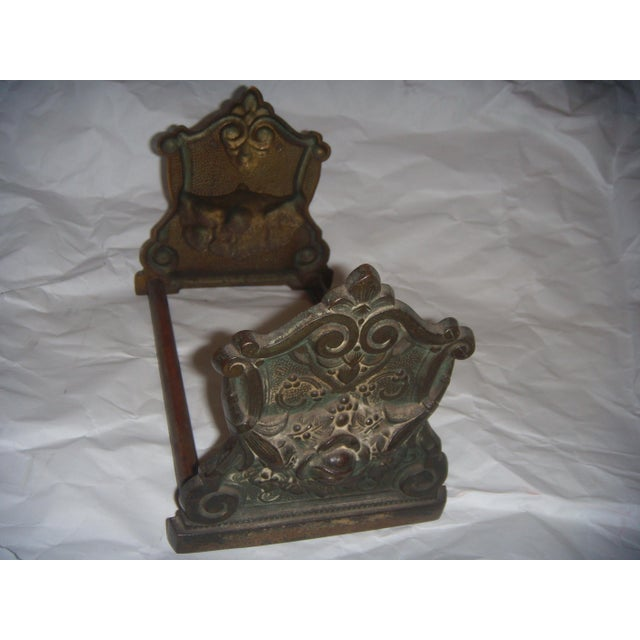 Victorian Expandable Ornate Brass Bookends - Image 3 of 11