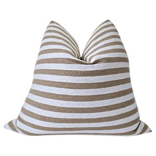 Boho Chic Fragments Identity Berber Striped Cotton & Linen Pillow - 24ʺw × 24ʺh For Sale