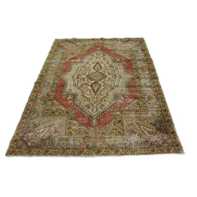 Rustic Vintage Turkish Worn-In Distressed Oushak Accent Rug - 4'2 X 6'00 For Sale - Image 3 of 4