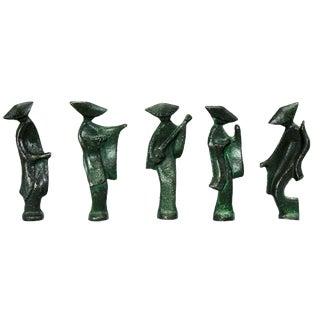 Patinated Cast Iron Geisha Figures - Set of 5