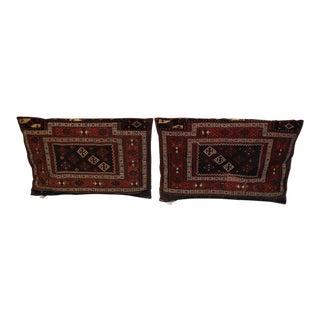 Handmade Antique Turkaman Sumak Cushions - A Pair For Sale
