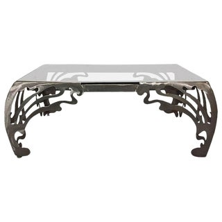 Decorative Brushed Steel Coffee Table For Sale