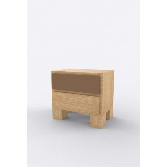 Postmodern Contemporary 101 Bedside in Oak and Brown by Orphan Work, 2020 For Sale - Image 3 of 3