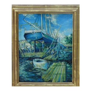 Edwin F. Murdock, American Born 1864 Boats at Dock For Sale