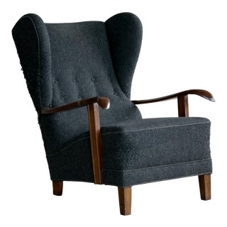 Fritz Hansen Model 1582 Wingback Lounge Chair Danish Midcentury For Sale