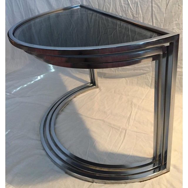 1970s Late 20th Century Italian Chrome & Smoke Glass Nesting Tables - Set of 3 For Sale - Image 5 of 12