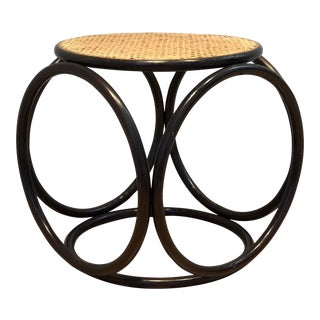 Vintage Mid-Century Thonet-Style Bentwood and Cane Stool For Sale