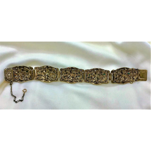 Red 1940s Czech Austro-Hungarian Revival Jeweled Bracelet For Sale - Image 8 of 9