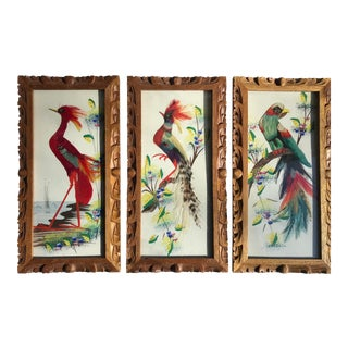 A Set Bird Feather Mexican Made Art Pictures For Sale