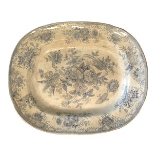 1920s Antique Blue and White Platter For Sale