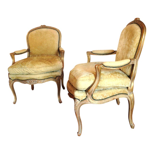 20th Century French Crushed Velvet Gilt-Framed Chairs - a Pair For Sale