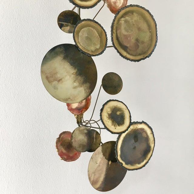 1970s A Brass Raindrops Metal Wall Sculpture by Curtis Jere For Sale - Image 5 of 7