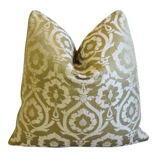 """Designer Michael Smith Silk Damask Feather/Down Pillow 21"""" Square For Sale"""