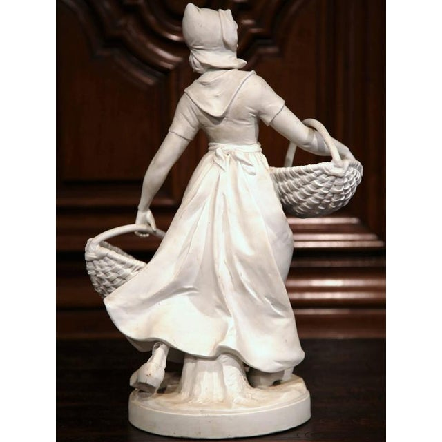 White 19th Century French Woman Holding Wicker Baskets Biscuit Porcelain Sculpture For Sale - Image 8 of 9