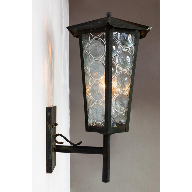 1950s Large Scandinavian Outdoor Wall Lights in Patinated Copper and Glass - a Pair For Sale - Image 4 of 13
