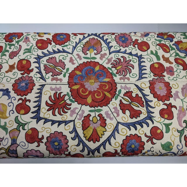 Antique Suzani Upholstered Bench For Sale In Mobile - Image 6 of 9