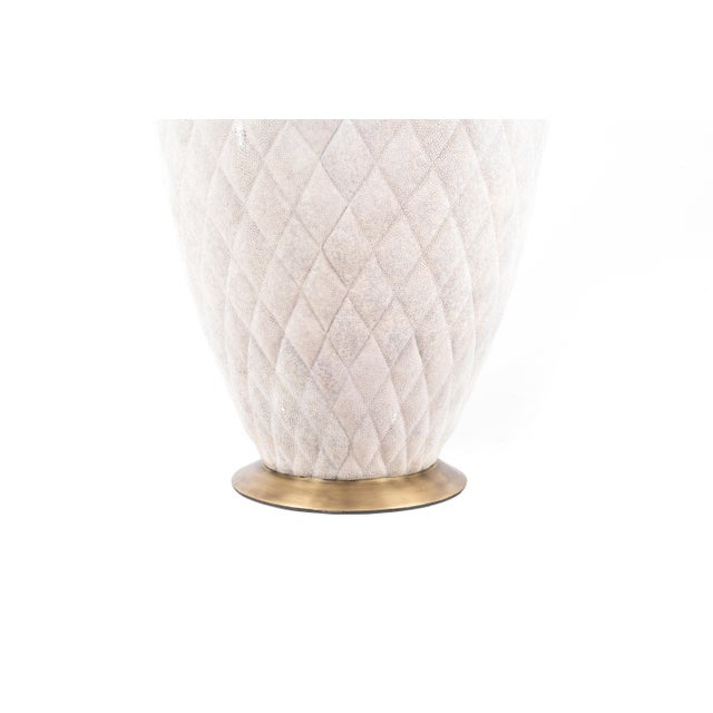 Coco Stool in Cream Shagreen and Bronze-Patina Brass by Kifu Paris For Sale - Image 4 of 8