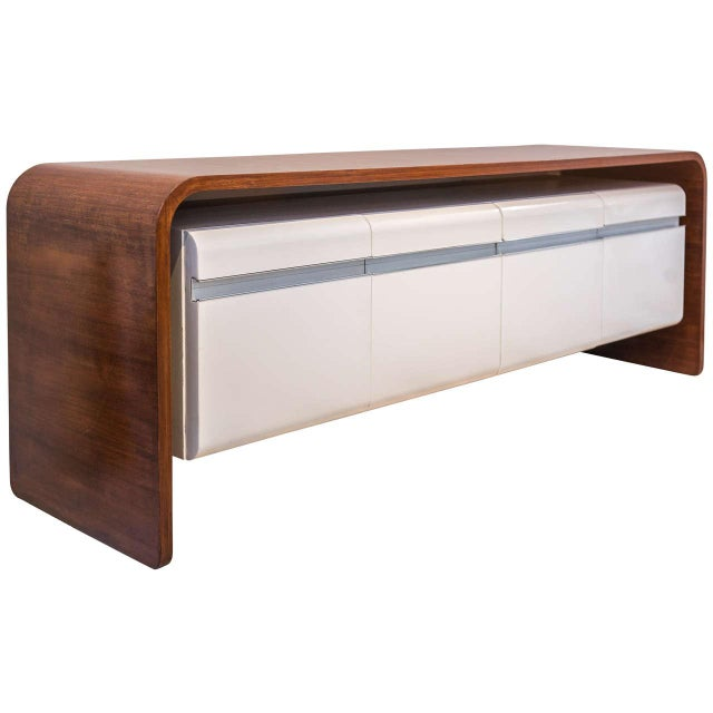 Aluminum Michel Boyer Walnut and Formica Credenza For Sale - Image 7 of 7