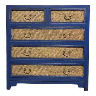 Blue & Rattan Inlaid 5 Drawer Dresser For Sale