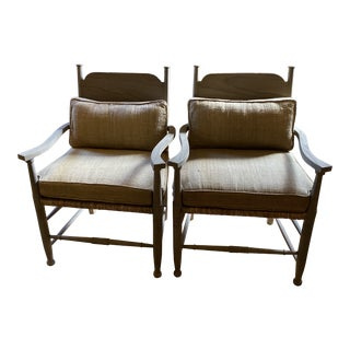Gray Washed Wood Rush Seat Chairs With Beige Burlap Cushions - a Pair For Sale