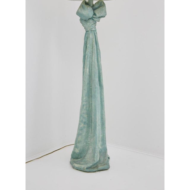 Sculptural Postmodern floor lamp comprised of plaster body in the form of draped and bow-tied fabric in the style of John...