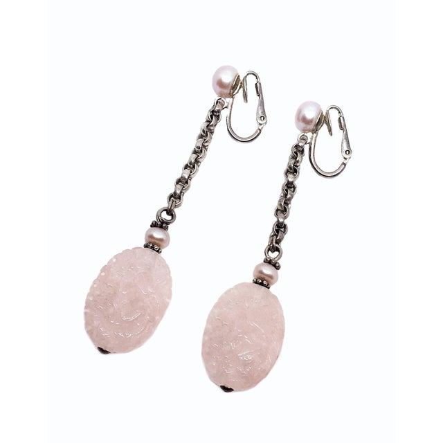 Modern Sterling Silver, Pink Pearl and Rose Quartz Drop Earrings For Sale - Image 3 of 5