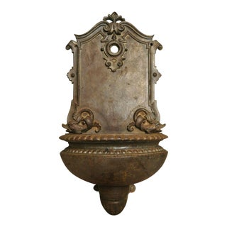 Late 19th Century Vintage French Cast Iron Neoclassical Dolphin Garden Wall Fountain Basin For Sale