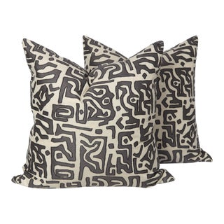 Kasai Tribal Embroidered Pillows, a Pair For Sale