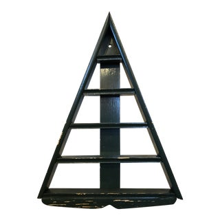 Primitive Hand-Crafted Triangle Tree Shelf For Sale