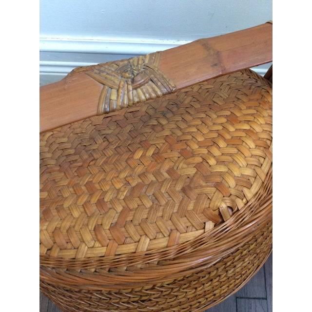 Antique Chinese Tiered Wicker Basket For Sale - Image 5 of 7