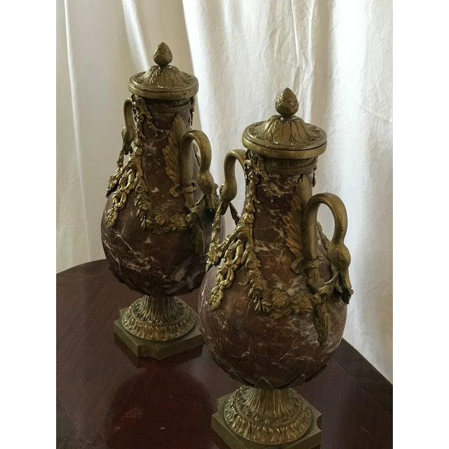 Rococo Marble and Bronze Gilt Urns with Bronze Mounts - a Pair For Sale - Image 3 of 13