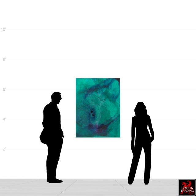 Abstract AN23 Green, Blue and Purple Abstract Painting For Sale - Image 3 of 10