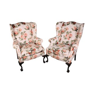 Chippendale Style Mahogany Ball & Claw Pair Wing Chairs For Sale