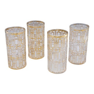 1970s Mid-Century Highball Gold Glasses - Set of 4 For Sale