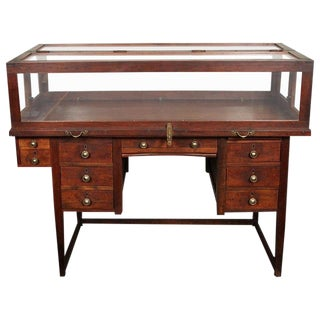 Late 19th Century Vintage English Jeweler Work Desk and Display Case For Sale
