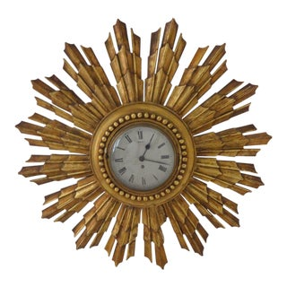 1940s Traditional French Gold Sunburst Wall Clock For Sale