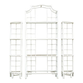Three Piece Rattan Pagoda Etagere - Set of 3 For Sale