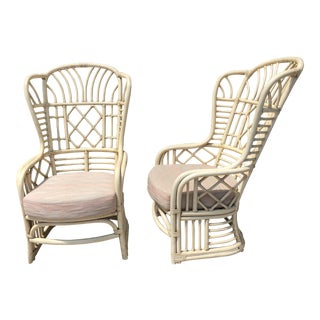 Ficks Reed Bamboo Wing Chairs - a Pair For Sale
