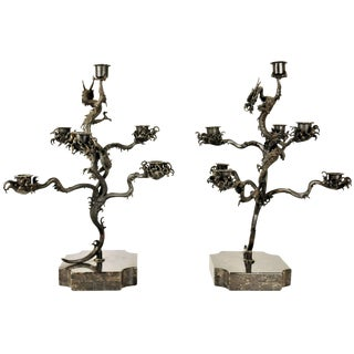 Pair of Japanese Patinated Bronze Candelabras, 18th Century For Sale
