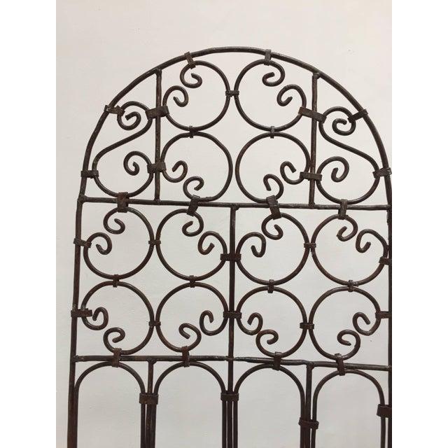 Metal Hand-Forged Iron Three Panels Folding Moorish Screen For Sale - Image 7 of 9