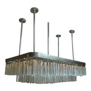 Huge and Impressive Mid-Century Nickel and Lucite Chandelier For Sale