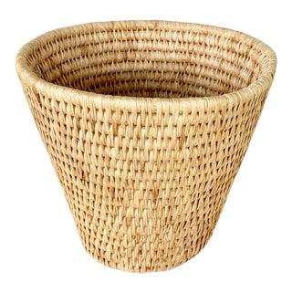 Vintage Boho Chic Straw Wastebasket For Sale