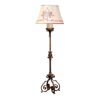 19th Century French Gothic Patinated Forged Iron Floor Lamp For Sale