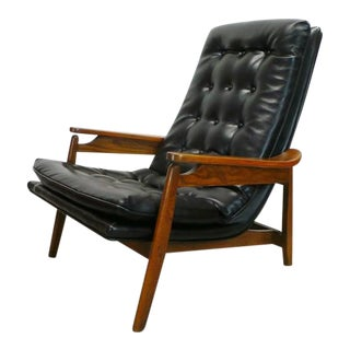 Mid Century Modern Black Leatherette Tufted Scoop Lounge Chair For Sale