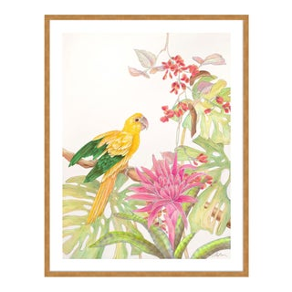 My Favorite Perch by Allison Cosmos in Gold Framed Paper, Medium Art Print For Sale