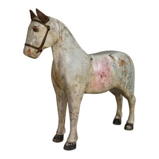 19th Century Swedish Hand Carved & Painted Horse For Sale