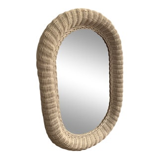 1970s Wicker White Painted Mirror For Sale