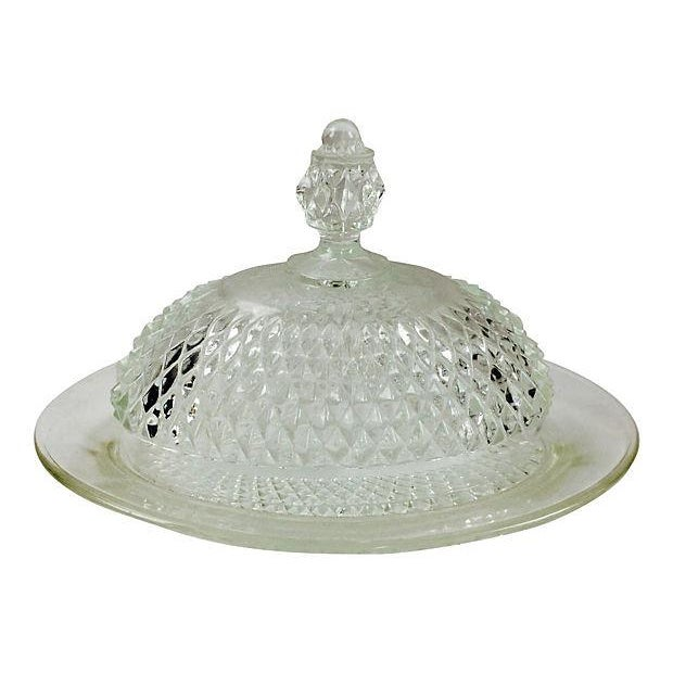 Traditional Pressed Glass Dome Butter Dish For Sale - Image 3 of 3